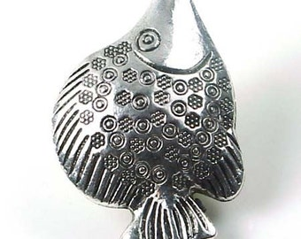 Antiqued Silver Pewter Fish Focal  Bead 38x27mm (p107)