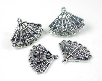 4 Pewter Chandelier Filigree Earring/Pendant Connector (p072)