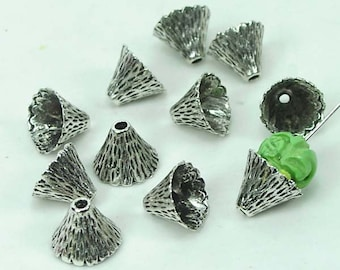 10 Silver Pewter Cone Caps Beads 9x12mm - Lead-Free - (p129)