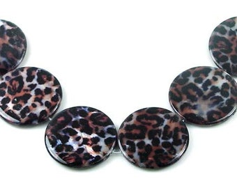 Leopard Skin Mother Of Pearl Disc Beads (6 pcs) 30mm (e5371)