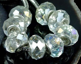 Faceted Crystal Big Hole Fit Charm Bracelet Beads (8 pc) (e5071)