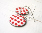 Enamel Earrings, Red Polka Dots On White, Copper And Sterling Silver - Belle