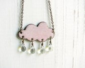 Handmade Pink Cloud Necklace - Enamel On Copper, Glass Raindrops
