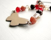 Butterfly Necklace - Caramel Brown Enamel Chocker, Red, Brown And Clear Glass Beads