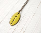 Sunny Yellow Enamel Grain Necklace, Lightweight Pendant