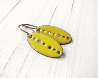 Sunny Yellow Enamel Earrings, Copper Dangle Earrings / europeanstreetteam