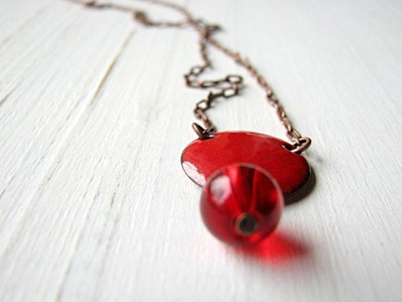 Red Berry Necklace - Enamel On Copper, Red Glass Bead