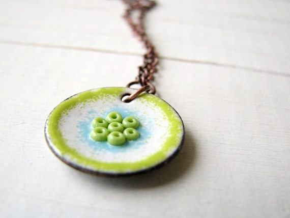 Floral Necklace, Lime Green, White And Blue Enamel On Copper - Lovely Day
