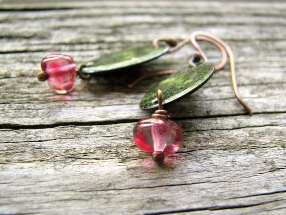 Enamel Earrings, Copper Dangles, Black, Green And Fuchsia Pink - Woodland Fairy