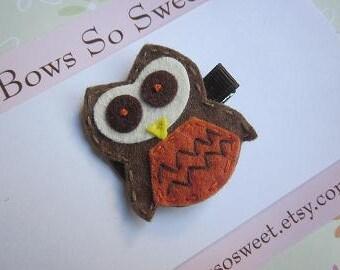 Owl Felt Hair Clip...Oliver the Owl