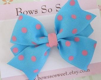 Blue with Pink Polka Dot Large Pinwheel Hair Bow