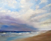 "Dramatic Beach Art Print ""Purple Sky over Bird Island"" Matted for 8x10 frame"