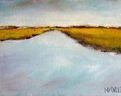 "Blue gray, ochre autumn marsh landscape ""Blue Gray Marsh"" 5x7 original oil painting"