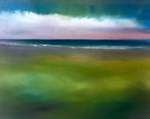 """RESERVED for Brandi, Ocean beach painting """"Shoreline Clouds II""""  oil on linen 11x14"""