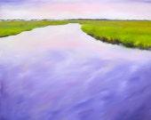 "Coastal landscape art print ""Purple Morning Marsh"" 8x8 inches"