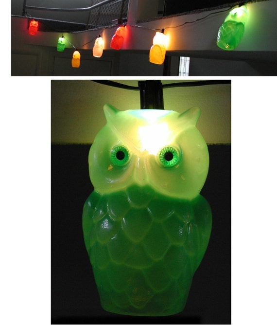 Vintage OWL String Of Lights Plastic Hanging INDOOR
