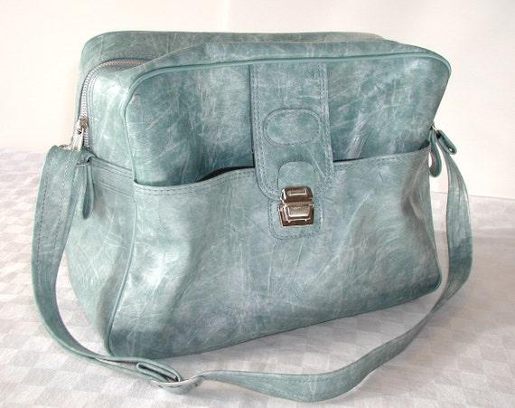 Vintage Messenger Bag Weekender  Powder Light Blue
