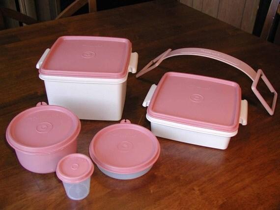 tupperware 11 piece pretty in pink stackable storage. Black Bedroom Furniture Sets. Home Design Ideas