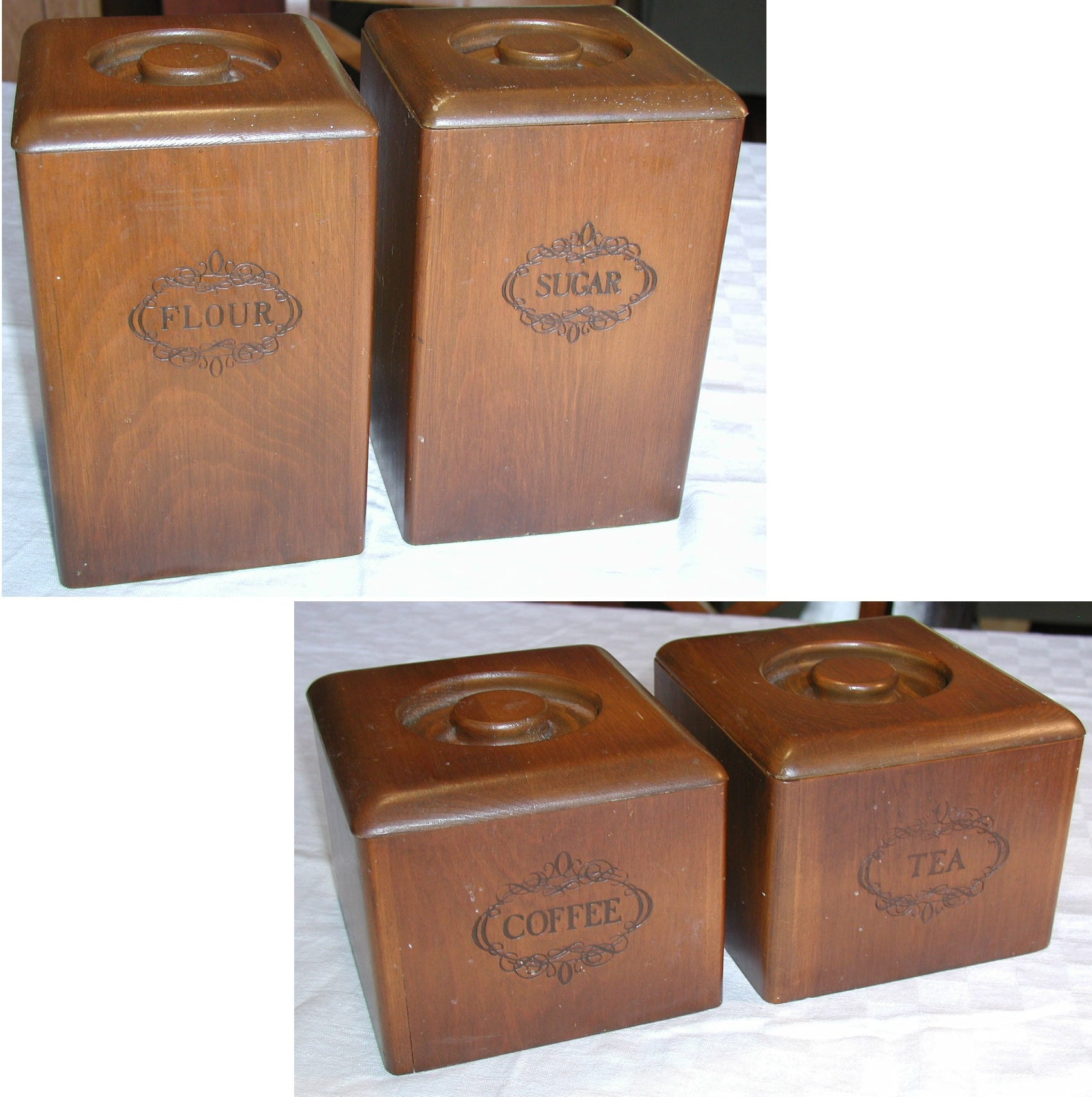 wooden canisters kitchen set of 4 vintage wooden kitchen canisters by sunsetsidevintage 6879