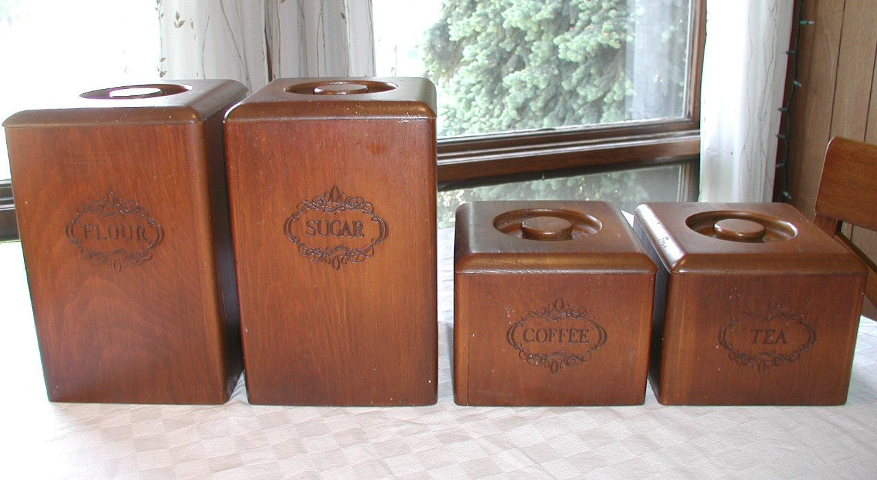 set of 4 vintage wooden kitchen canisters storage containers