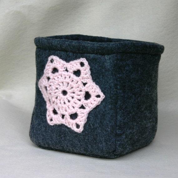 Pink and Grey Felt Bucket Basket Storage Charcoal Crochet Motif Recycled