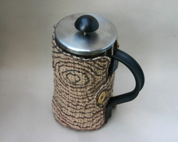 French Press Cozy Faux Bois Wood Grain Cafetiere Coffee Pot Brown Tan Embroidered