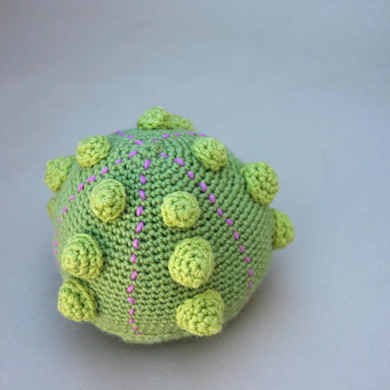 Crochet Sea Life Amigurumi : Green Sea Urchin Crocheted Amigurumi Paperweight ...