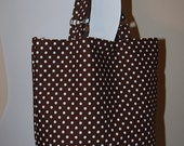 The Dotty Desire Handbag, medium size tote bag, pretty brown with polka dot design