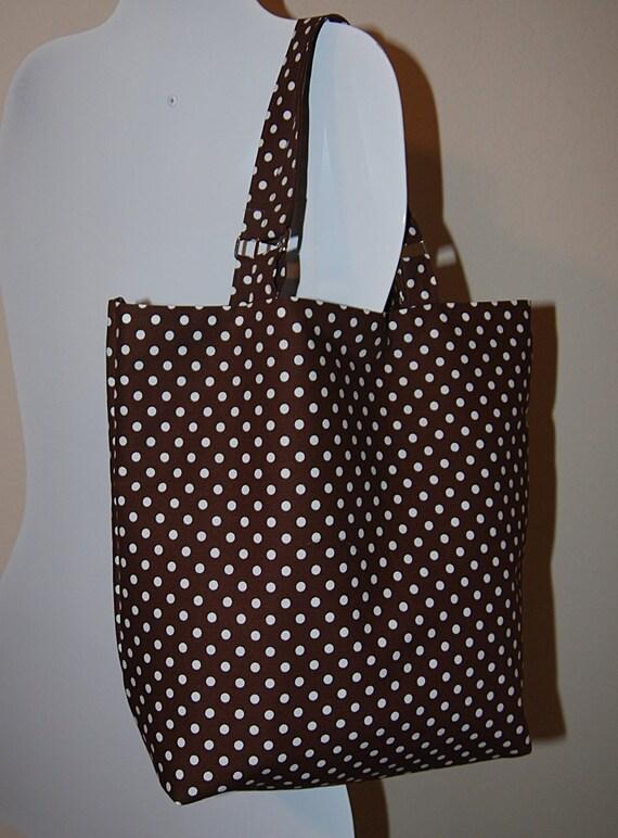 The Dotty Desire Handbag, medium size tote bag, pretty brown with polka dot design