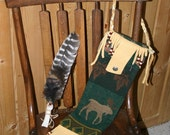 Tribal Pendleton Bag Wool  Leather Moose  Native American Indian Woodland Elk Leather