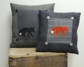 Black Fox Pillow Cabin Decor Wool Eco-friendly Lodge Decorative Accent Pillow Woodland Charcoal Gray Grey