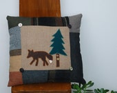 Wool Fox Pillow Lodge Cabin Decor Accent Forest