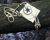 Beaded Turtle Medicine Bag Pouch Green Pearl White Native American Indian Sacred Deer Hide Rosette Style by Northernlodge on Etsy
