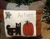 Primitive Cat Pillow Pumpkin Wool