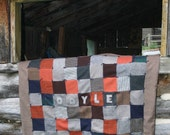 Dog Quilt Upcycled Wool Patchwork Primitive Dog Bed Pet Quilt  Custom Paw Prints by Northernlodge on Etsy