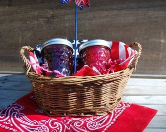 Organic Jam Gift Basket with Two 8 oz Jars of Homemade Jam