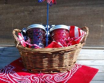 Organic Jam Gift Basket with Two 8 oz Jars of Homemade Jam