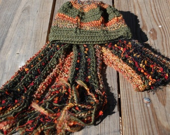 Autumn Scarf Hat  Handmade Set 2 Piece Autumn Leaves Blended Yarn Rust Olive Orange Women Accessory by Northernlodge on Etsy