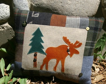 Moose Pillow Cabin Decor Wool pine trees Woodland