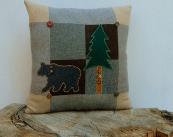 Wool Bear Pillow Lodge Cabin Tree Patchwork  Upcycled