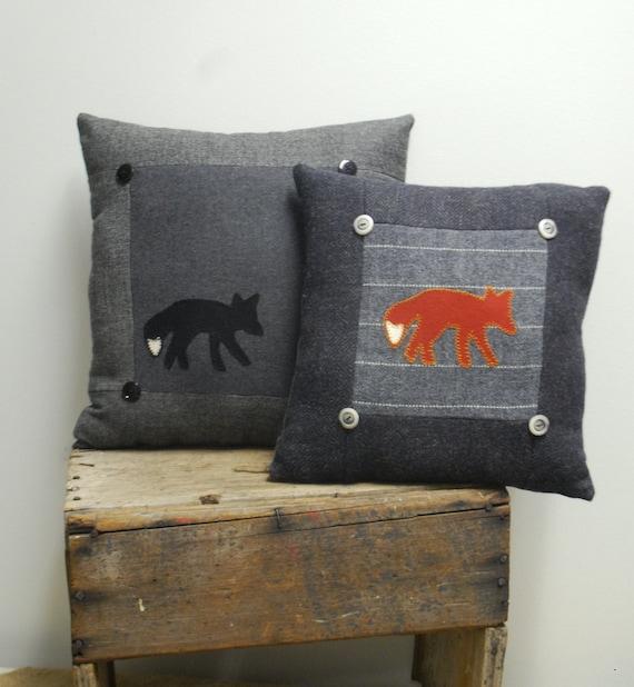 Black Fox Pillow Cabin Decor Wool Eco-friendly Lodge