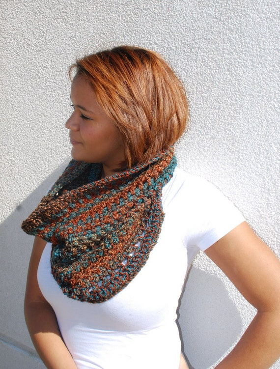 Cowl Infinity Scarf Rust Turquoise Southwest