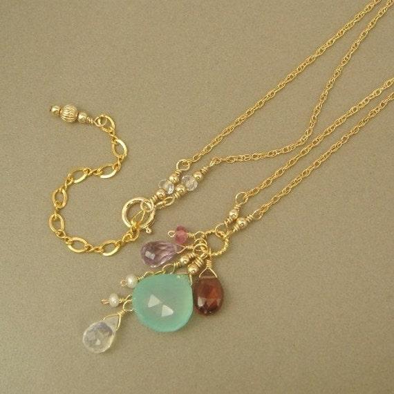 Aqua Blue Chalcedony Garnet Amethyst 14K Gold Filled Necklace
