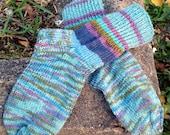 Women's hand knitted silky wool socks