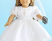 18 Inch American Girl Doll Clothes - Lace First Communion Dress and Veil - 18 inch Doll Clothes