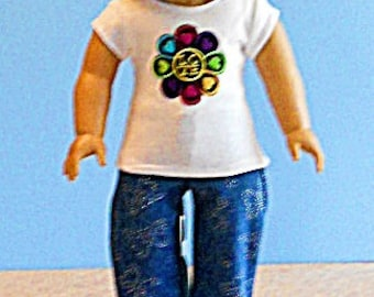American Girl Doll Clothes - White Tee with LOVE Flower Applique and Jeans - 18 Inch Doll Clothes
