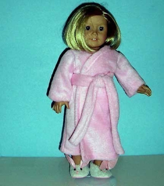 American Girl Doll Clothing -  Pink Fleece Wrap Robe - 18 Inch Doll Clothes