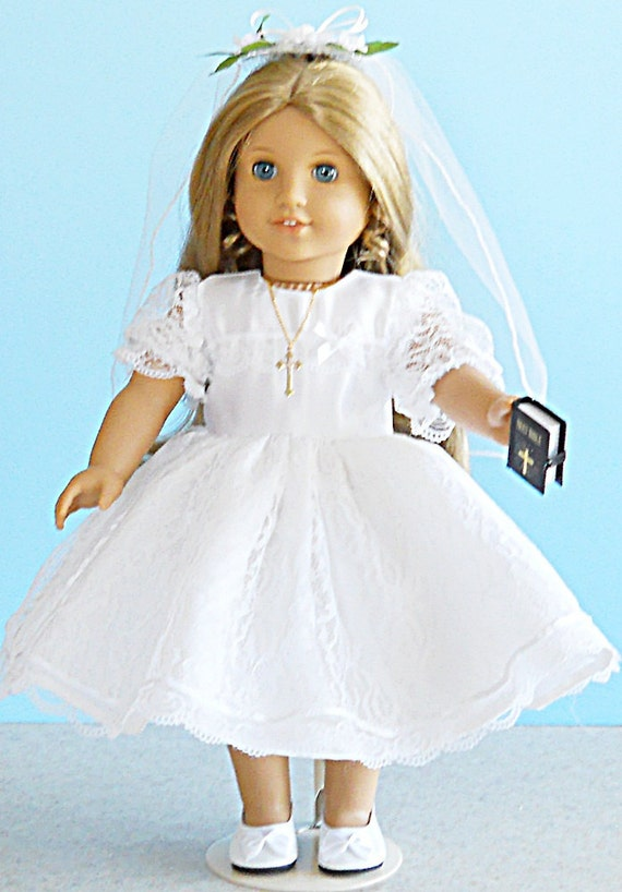 Lace First Communion Dress and Veil - 18 inch Doll Clothes