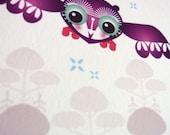 Owl in Winter // A5 Giclee Art Print