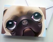 CUSTOM LISTING: 10 x Cream pug cards / invitations. RESERVED for Pooties1188